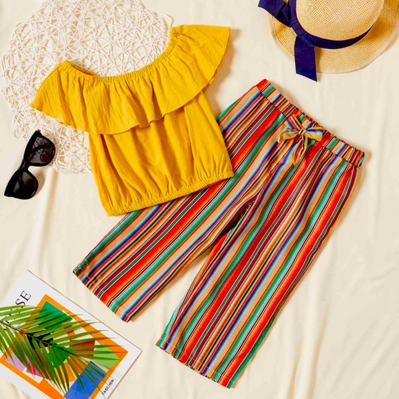 Solid Flounced Collar Top and Striped Pants Set